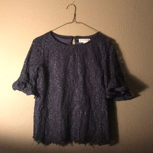 Navy Blue Lace Business Blouse